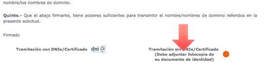 copia del dni para transferir dominio