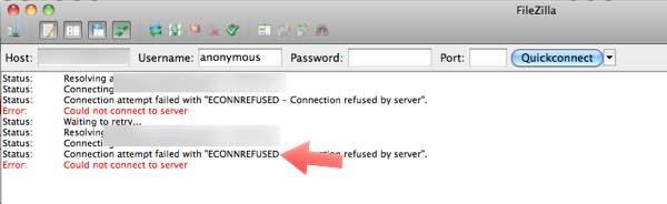 erroreconn en FileZilla