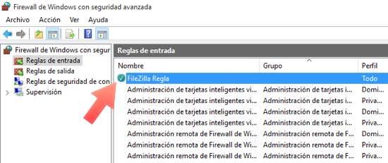 filezilla regla configurada en firewall