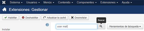 joomla extensiones gestionar gestionar user mail buscar