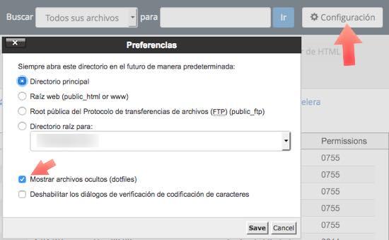 Mostrar archivos ocultos (dotfiles)