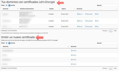 opciones lets encrypt en cpanel