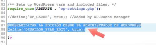 pegar codigo en wp-config.php