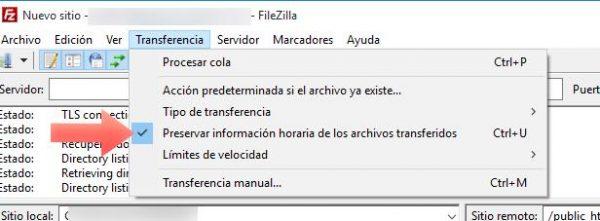 preservar informacion en FileZilla