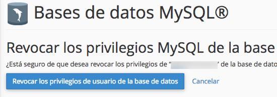 revocar privilegios de usuario de la base de datos