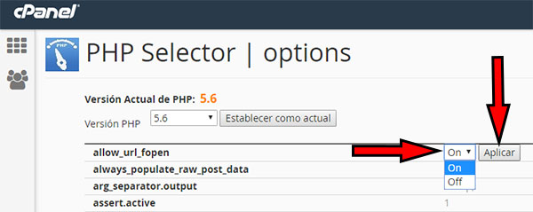 Selector php allow_url_fopen ON
