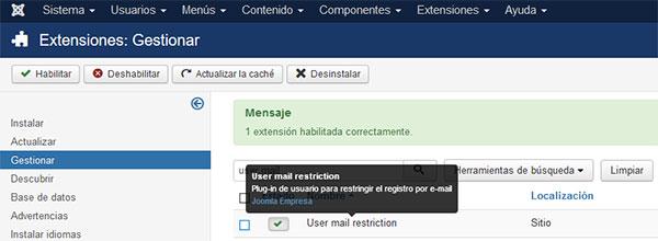 user mail restriction habilitado