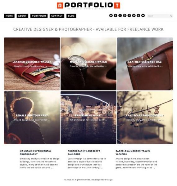 theme Responsive Portfolio WordPress