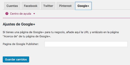 ajustes google+