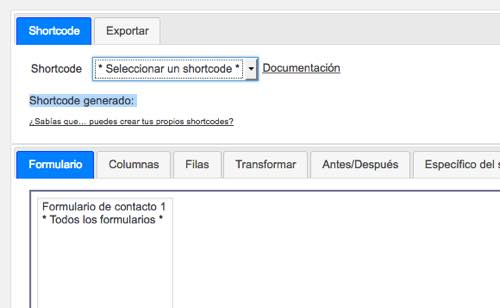codigos cortos Contact Form DB