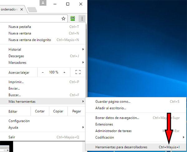 Google Chrome -> Herramientas Desarrolladores Teclas