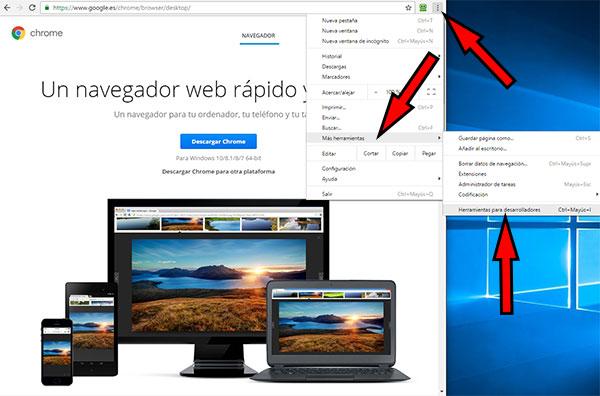 Google Chrome -> Más Herramientas Desarrolladores