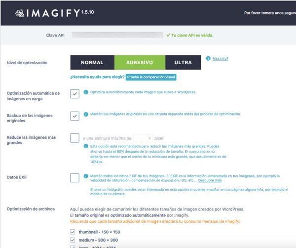 opciones para configurar imagify wordpress