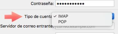 tipo cuenta POP o IMAP