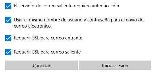 win10 correo configuración todas las opciones marcadas