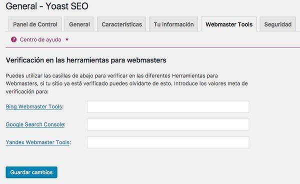 WordPress yoast SEO webmaster