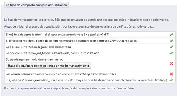 1-Click Upgrade - Pre-actualización Error