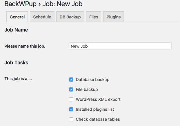 Add new job - BackWPup WordPress