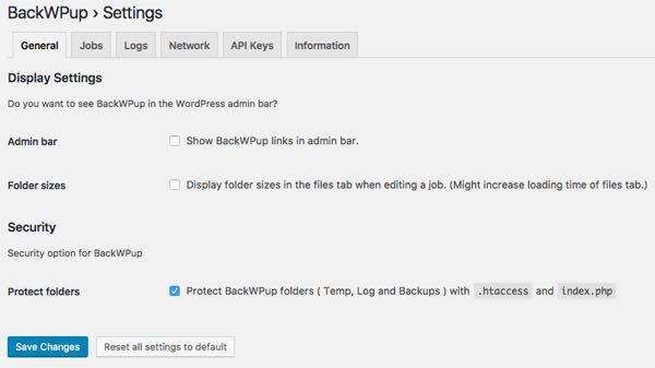 Settings - BackWPup