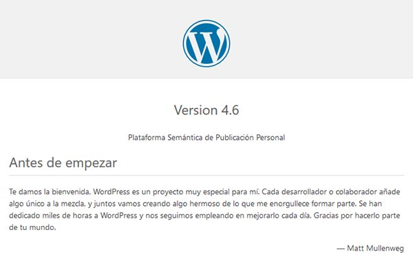 WordPress readme saber versión