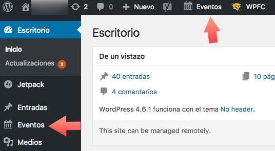 acceso eventos wordpress