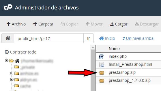 cPanel Administrador de Archivos Extraer Prestashop Zip