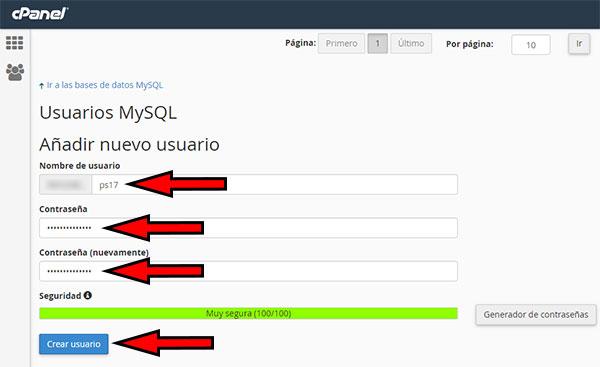 cpanel mysql - crear usuario ps17