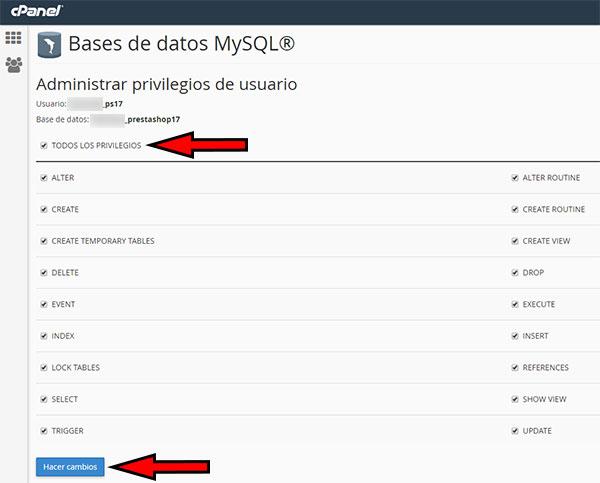 cpanel mysql - privilegios usuario ps17