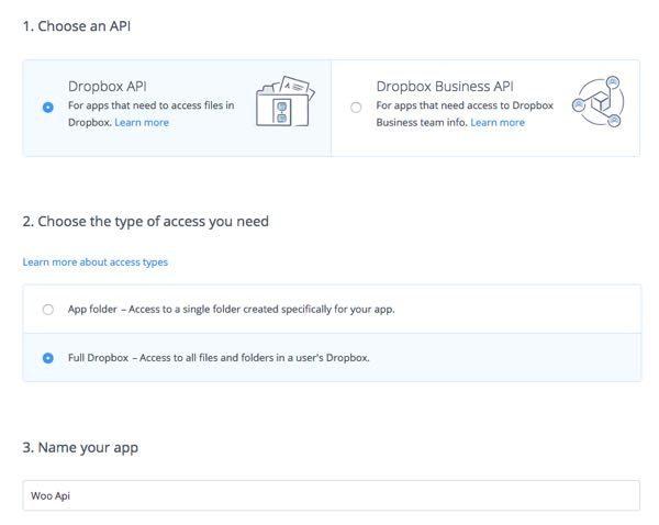 crear api en Dropbox opciones