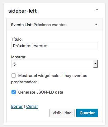 eventos widget calendar
