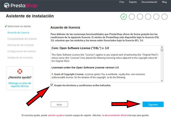 PrestaShop 1.7 Asistente Instalación Aceptar Terminos y Condiciones
