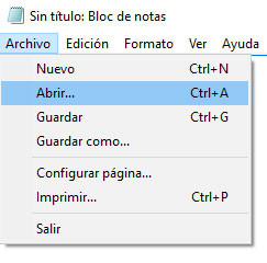 Windows10 Bloc de Notas Archivo Abrir