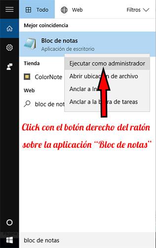Windows10 Bloc de Notas Ejecutar Admin