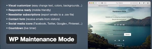 WP Maintenance Mode plugin para WordPress