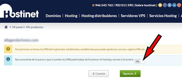 Hostinet aceptar cambio DNS en Dominios genéricos