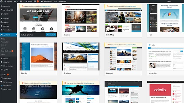 WordPress Themes Instalación Completa Hostinet
