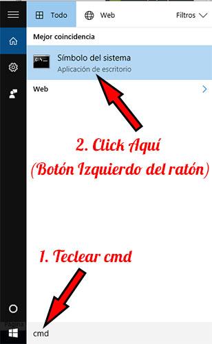 Windows 10 cmd símbolo del sistema