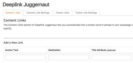 Deeplink Juggernaut wordpress