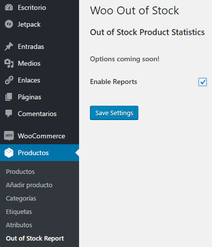 Woocommerce Productos Out of Stock Report