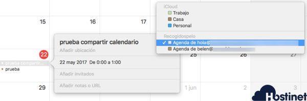agenda compartida en calendario mac os x