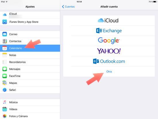 ajustes calendario otra iOS