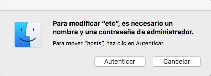 autenticar hosts macOS