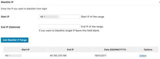blacklist ip loginizer security