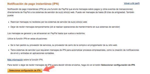 configuracion IPN Paypal