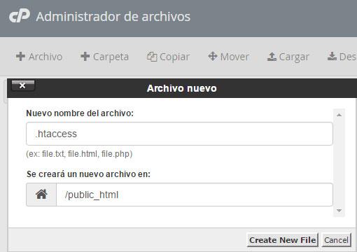 cpanel administrador archivos nuevo archivo .htaccess