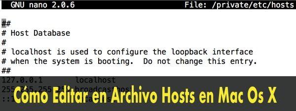 modificar archivo hosts mac mountain lion