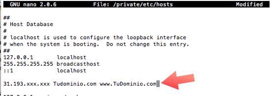 hosts modificado terminal macOS