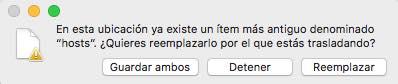 reemplazar archivo hosts macOS