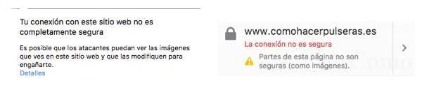 sitio no seguro certificado ssl