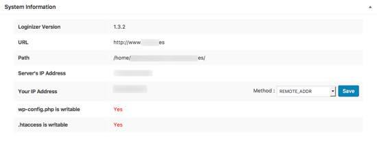 system information loginizer security wordpress